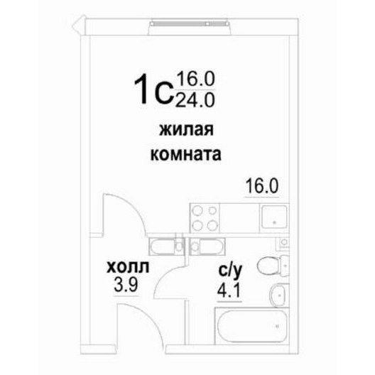 1-комнатная студия 24.0 кв.м. в Звенигороде